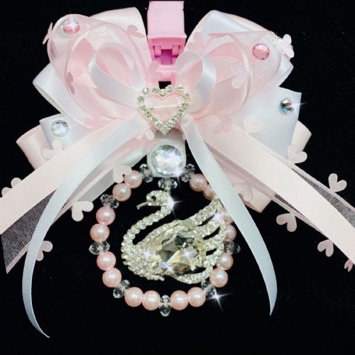 Stunning Hand Craft Pram Charm/Pink Ribbon and Swan